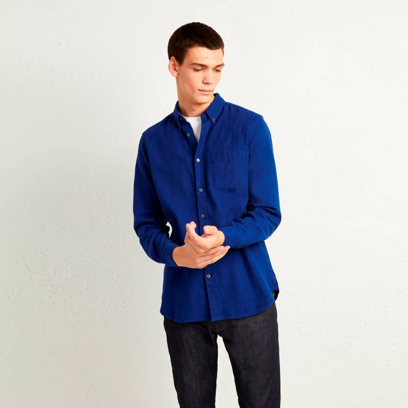French Connection - Camisa Flannel Azul