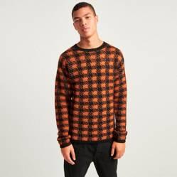 Sweater Pohair Plaid Naranja