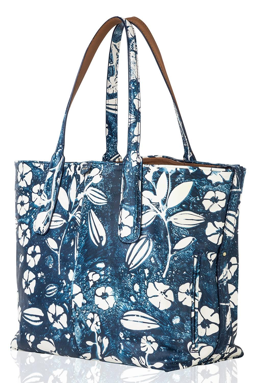 Carlota - Cartera N1 Flores Azul Eco Grande