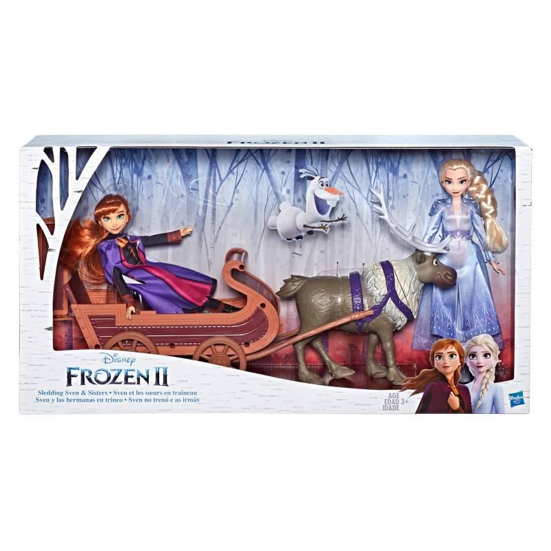 Frozen - Muñecas de Elsa y Anna con figura de Sven y trineo