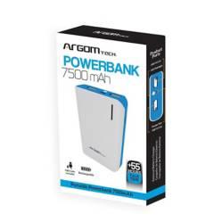 Cargador externo powerbank 2 pts. USB 7500mah azul