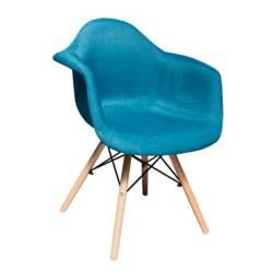 Barthon - Poltrona Eames Azul con Brazo Tapizada