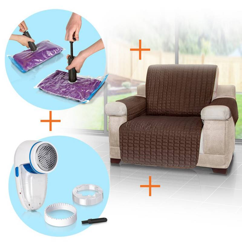 Energy Plus - Combo: protector sofá 1 + quitamotas+bolsas ahorro