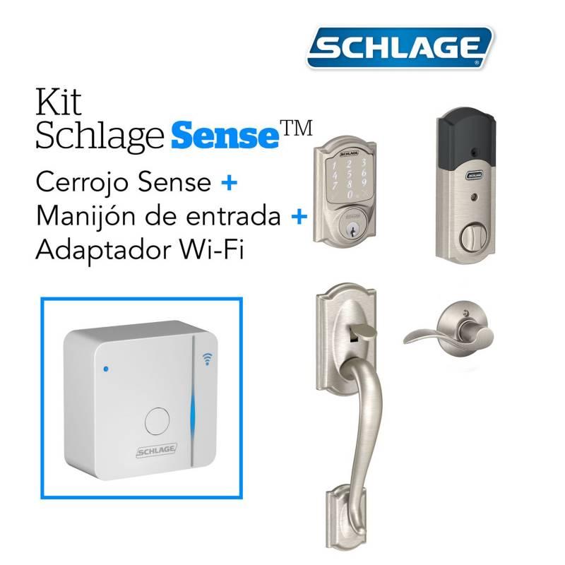 Schlage - Kit sense camelot satin+wifi+manij dere schlage