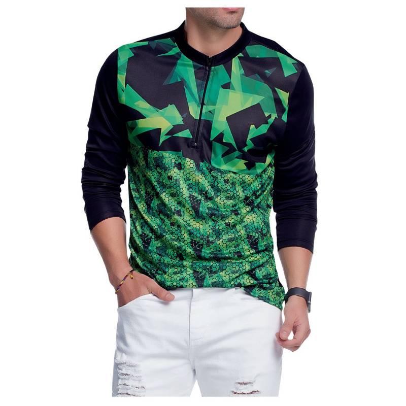 MARKETING PERSONAL - Camibuzo Juvenil Masculino Negro Verde  95763 Marketing Personal