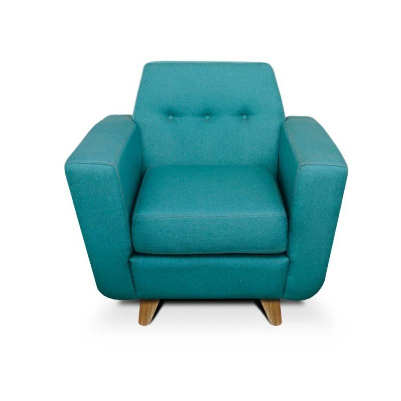 MUEBLES ONLINE - Poltrona mouret azul turquesa patas de madera