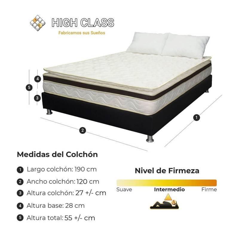 HIGH CLASS - Colchón Semidoble120 Vermont Comfort+Base+Almohada