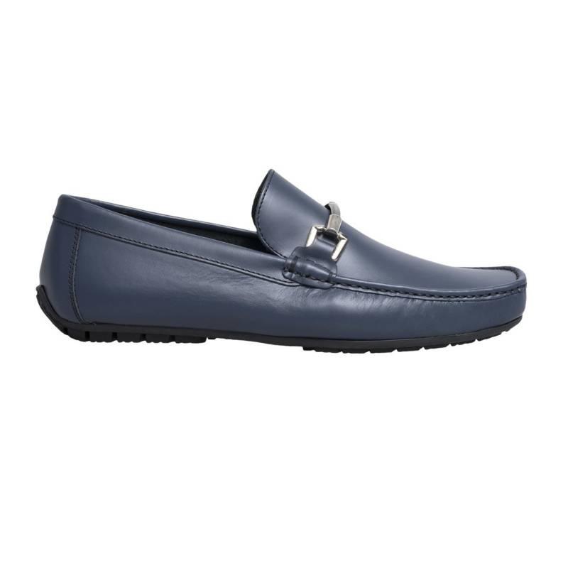 F NEBULONI - Zapato F.Nebuloni Casual En Napa Mocasín Azul