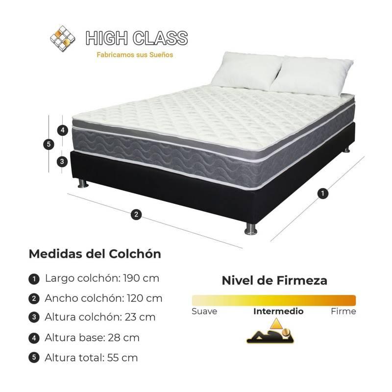 HIGH CLASS - Colchón Con Base Semidoble 120 Cambridge Soft