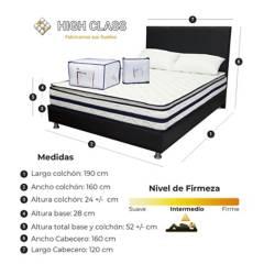 HIGH CLASS - Colchon Queen 160 + Base + Cabecero Michigan Dream