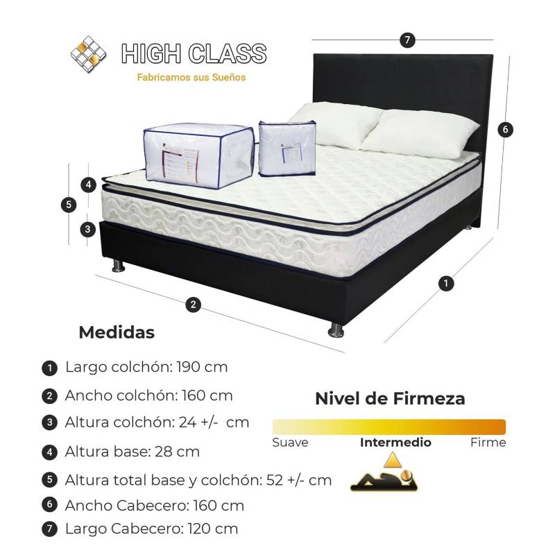 HIGH CLASS - Colchon Queen 160 Base + Cabecero Stanfort Relax