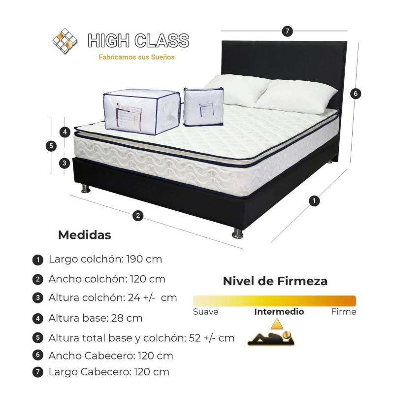 HIGH CLASS - Colchon 120 Semidoble Base+Cabecero Stanfort Relax