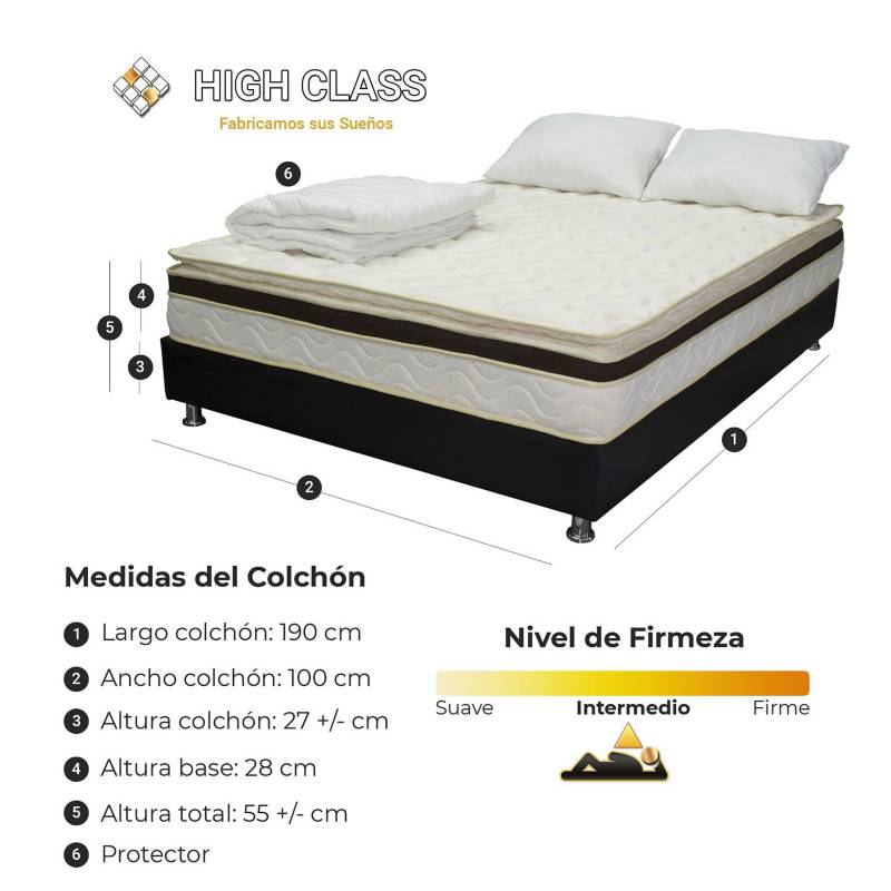 HIGH CLASS - Colchón Con Base Sencillo 100  Vermont Comfort