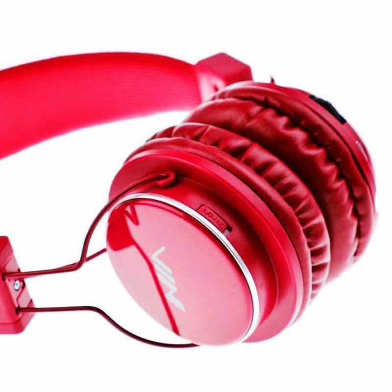- Audífono bluetooth  Nia  micrófono, micro SD, rojo