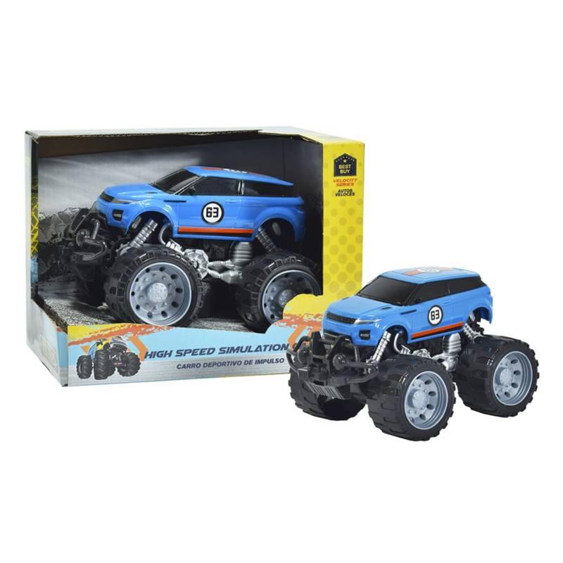 Power 4X4 - Carro Deportivo de Impulso Monster Azul 3+
