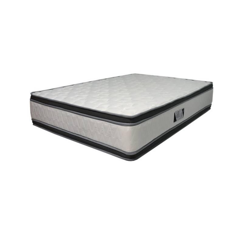 EKONOMODO - Combo esmeralda colchón +espaldar +base cama 160 negro