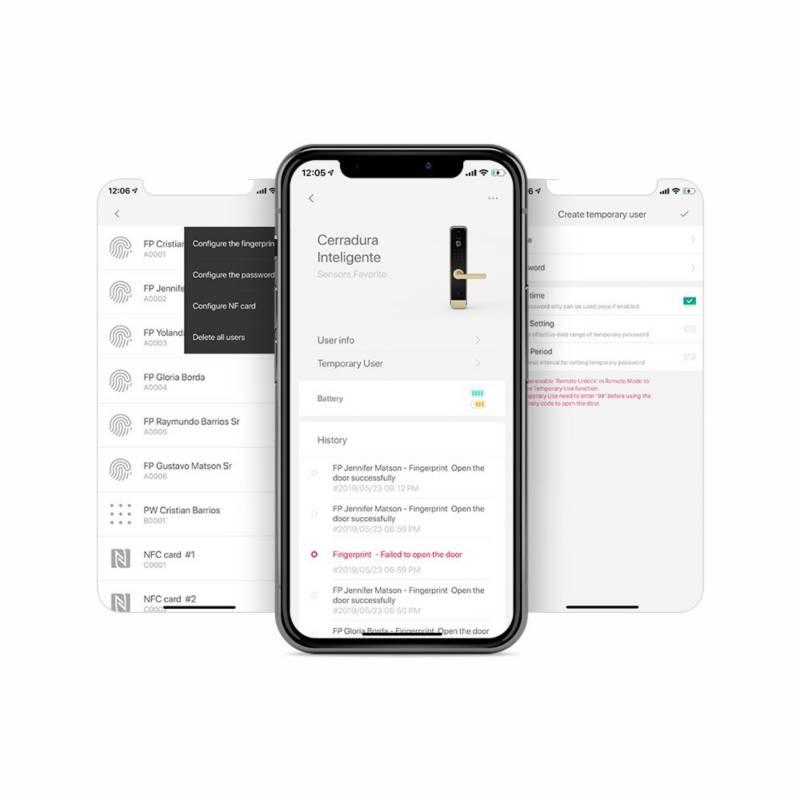 LIFESMART - Cerradura digital huella clave tarjeta + alarma