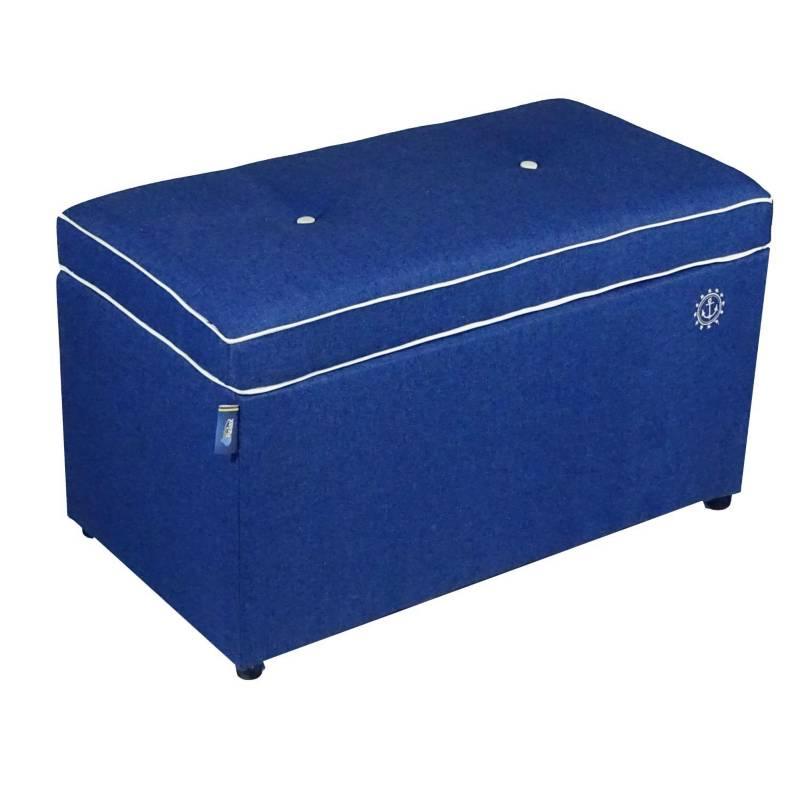 ESTILORELAX - Puff baúl microfibra azul rey 70 x 40 x 40