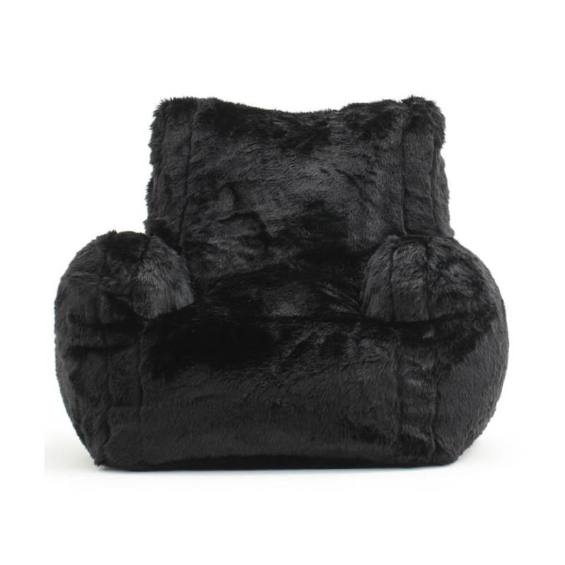 ESTILORELAX - sillon puff king peluche negro