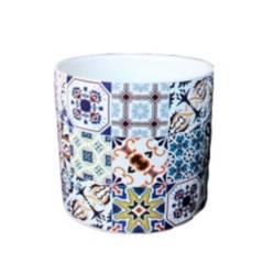 Maceta en cerámica diseño mosaico 01