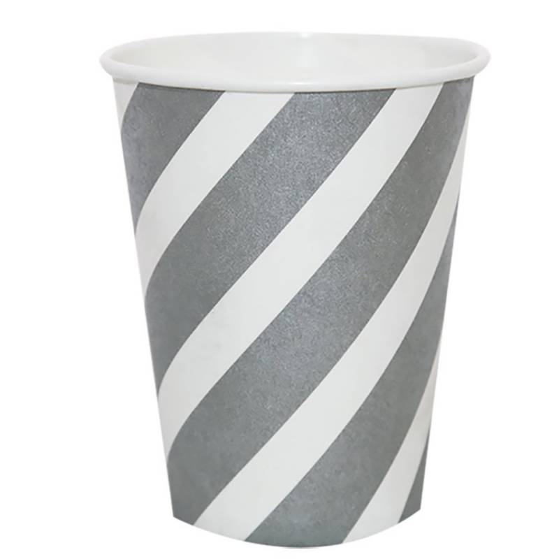 Mi fiesta - Vaso rayas plateadas por 8 unidades