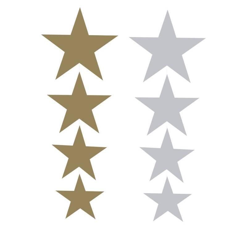 Mi fiesta - Colgantes estrellas doradas y plateadas por 4 unidades