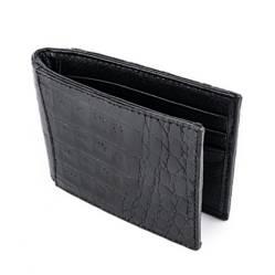 Billetera Money Clip en Cuero de Cocodrilo (plata)