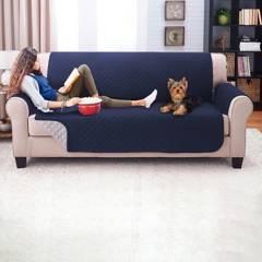 KARYTEX - Protector de sofá doble faz azul oscuro- gris