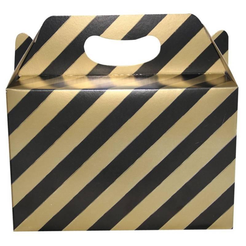 Mi fiesta - Caja de cartón rayas negro/ dorado por 1 unidad