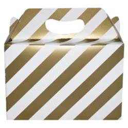 Caja de cartón rayas doradas por 1 unidad
