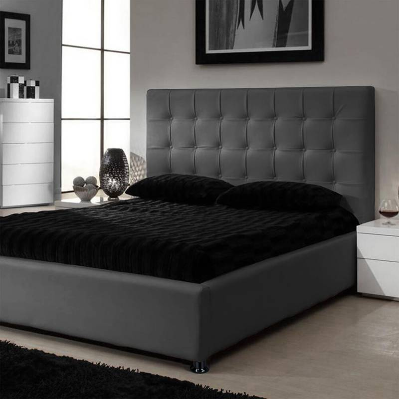 EKONOMODO - Combo ilusión espaldar + base cama 160 gris plomo