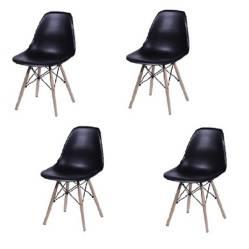 Kit x 4 sillas tipo eames negras para comedor sala