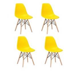 BOXBIT - Kit x 4 sillas tipo eames amarilla para comedor