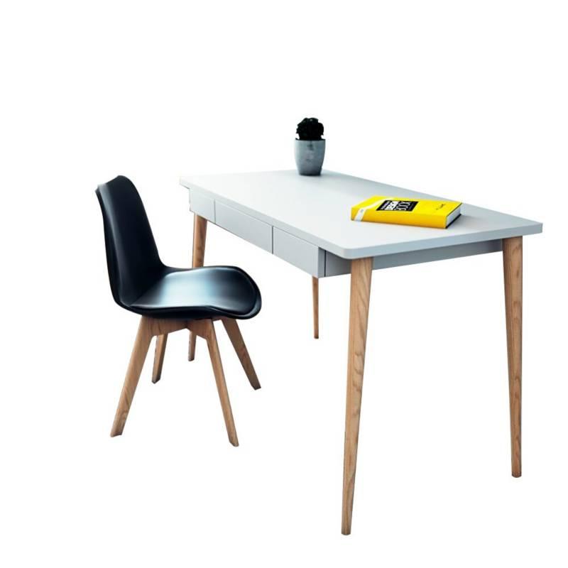 EKONOMODO - Combo escritorio White + silla milano negro