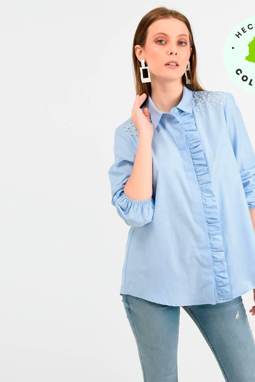 Basement - Camisa Mujer Manga Larga Basement