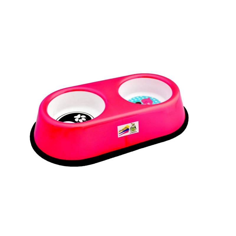 AM mascotas - Comedero doble bi-color antideslizante pequeño