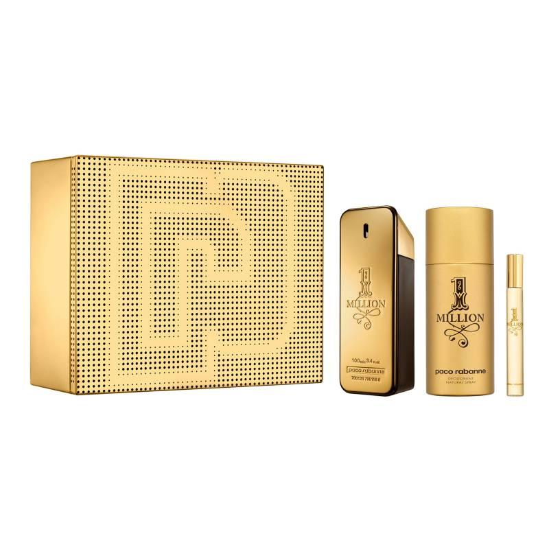 Paco Rabanne - Set Perfume Paco Rabanne 1 Million Hombre 100 ml EDT + Deodorant 150 ml + Spritzer 10 ml