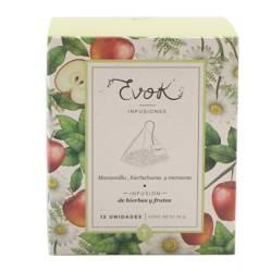 Evok - Caja Tisana Manzanilla - Hierbabuena - Manzana 12 Unidades x3g
