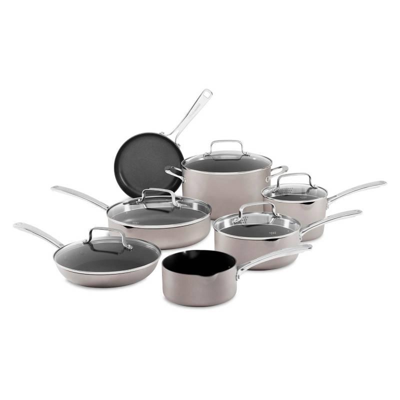 kitchenAid - Batería de Ollas 12 Piezas Plata
