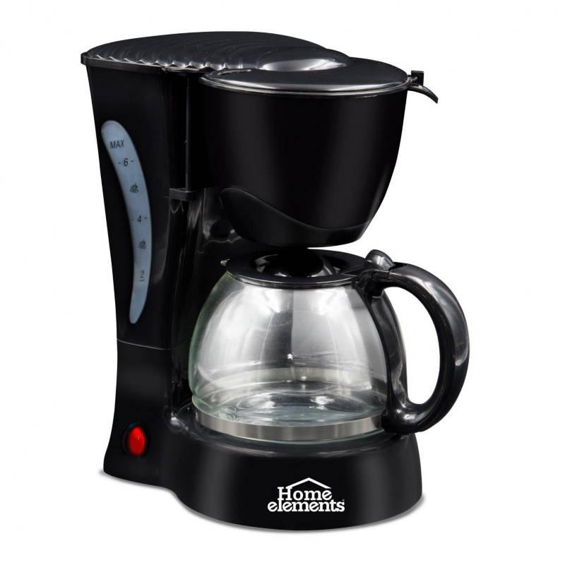 Home Elements - Cafetera electrica 6 tazas jarra vidrio