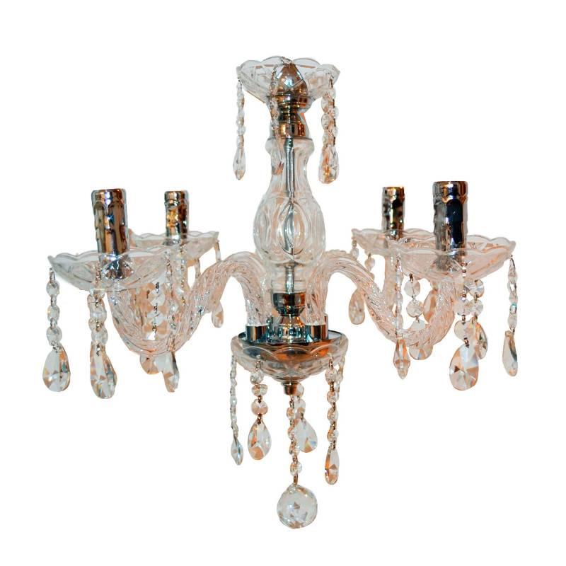 Lienxo - Lámpara de Cristal Transparente 4 Luces