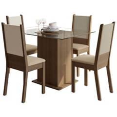 Akivoy - Juego de comedor isis mesa de vidrio 4 puestos