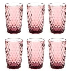 Alumar - Set x6 Vasos Rosa 12 Oz Barroco