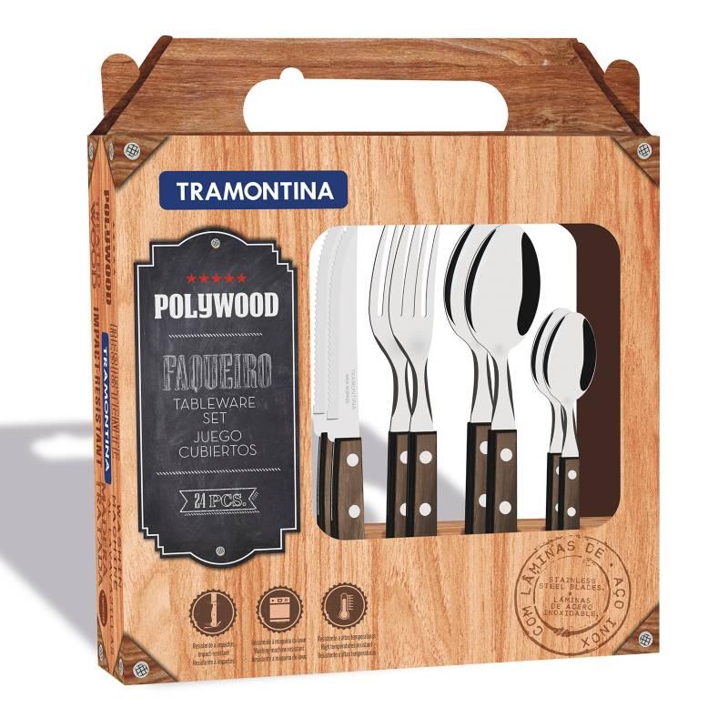 Tramontina - Juego de cubiertos 24 Piezas Polywood