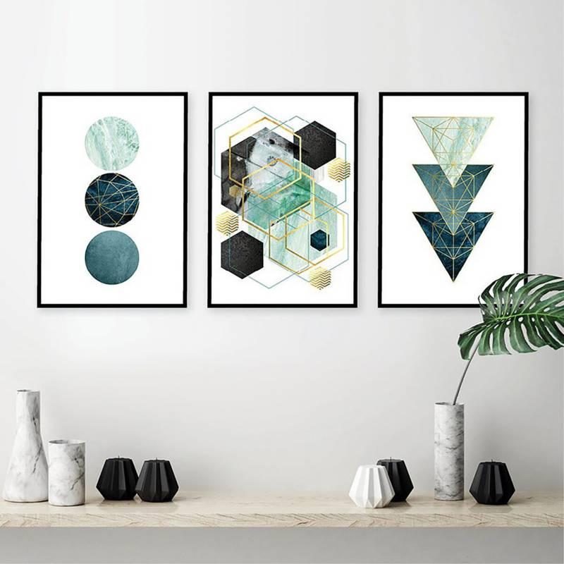DECASA - Tríptico geométrico verde
