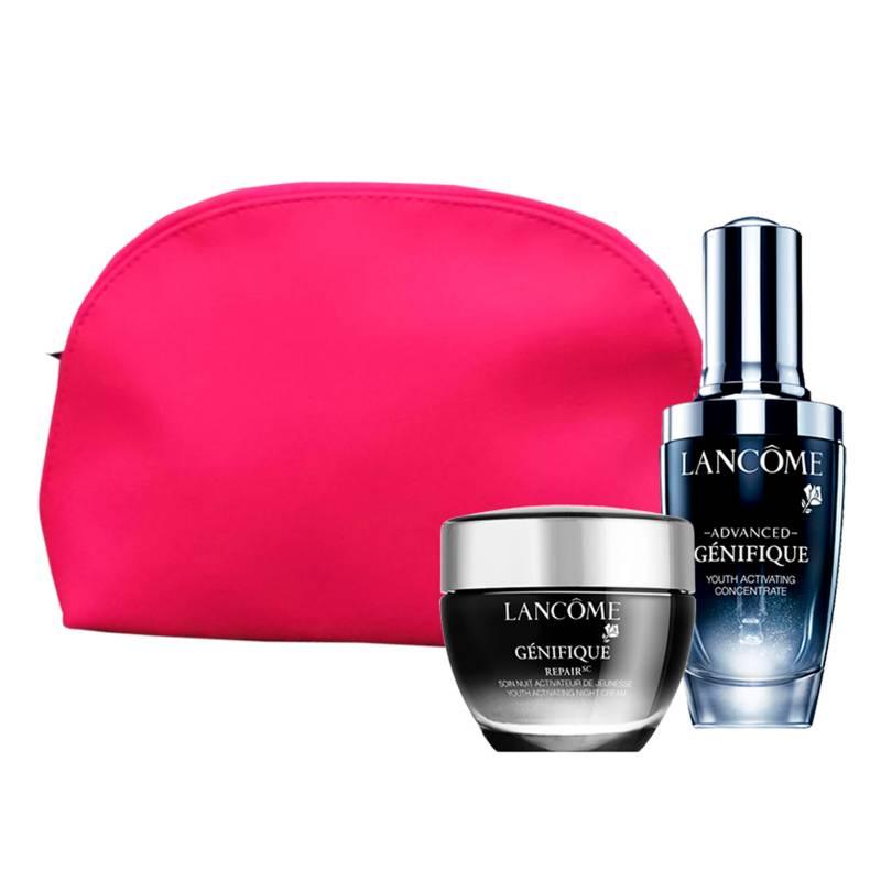 Lancome - Set Lancome Suero Genifique 30 ml + Genifique Crema de noche 50ml + Cosmetiquera Rosa