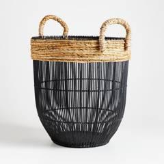 Crate & Barrel - Canasta Malloe Negro 59 x 43 cm