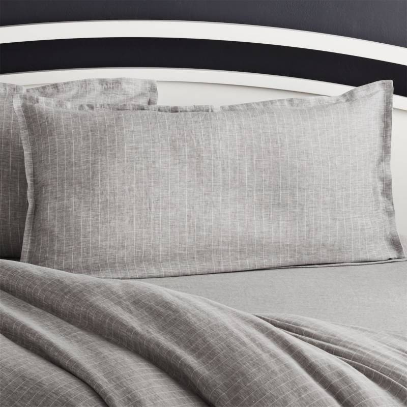 Crate & Barrel - Funda de Almohada Gris Rayas King
