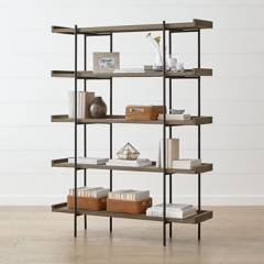 Crate & Barrel - Estante Beckett 5 Repisas Gris 186 cm.