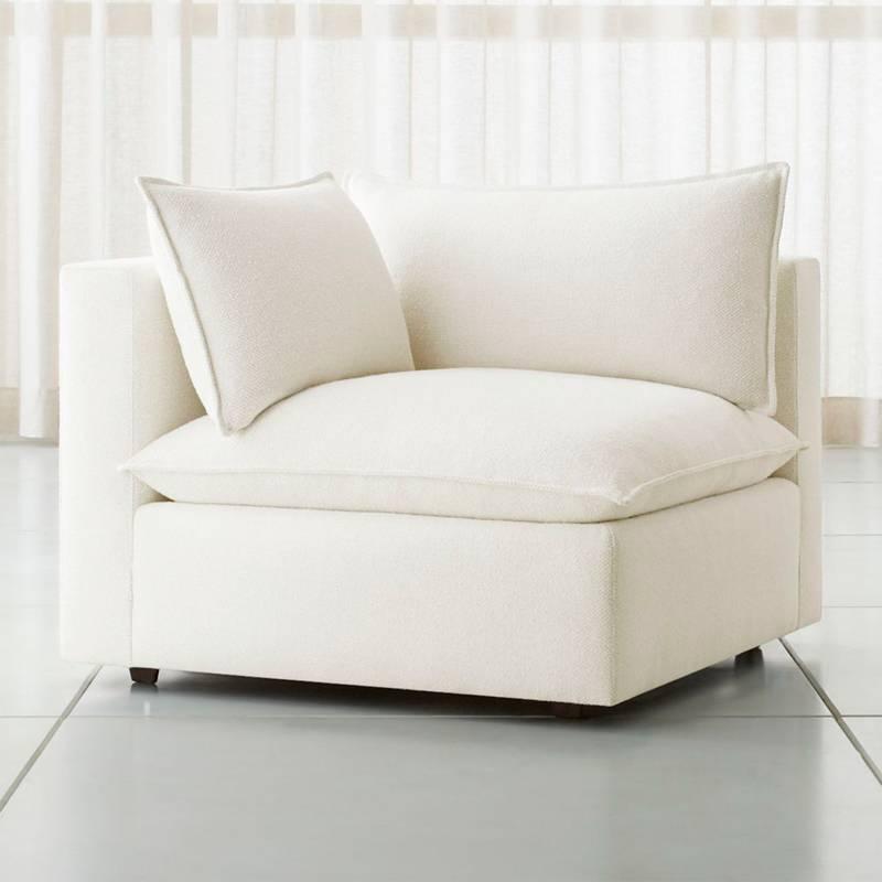Crate & Barrel - Sofá Lotus Esquinero Blanco 100 cm.